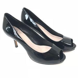 Vince Camuto Black Leather Peep Toe Pumps Heels